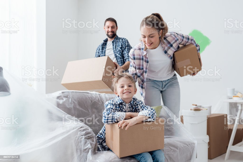Happy family in their new home royalty-free stock photo