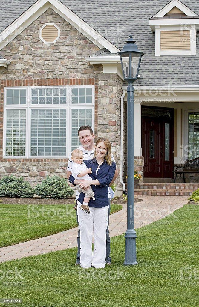 Happy Family in Yard royalty-free stock photo