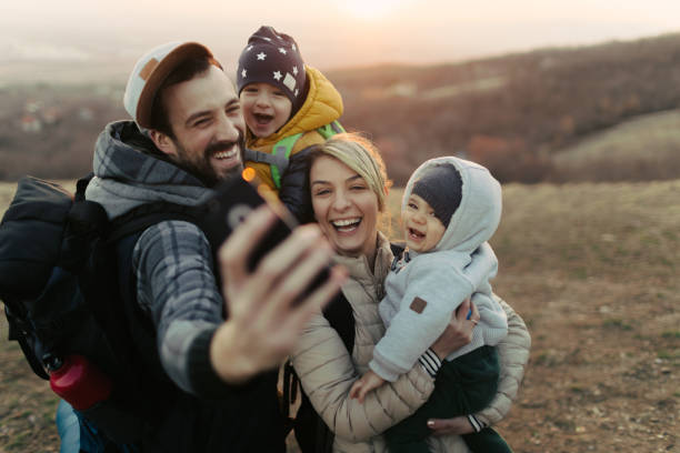 Happy family making a selfie stock photo