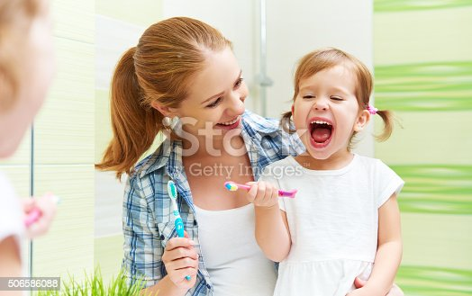 800444456 istock photo happy family mother and child girl cleans teeth with toothbrush 506586088