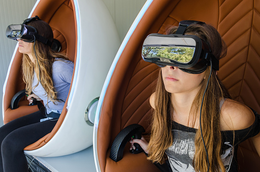 istock Happy family! Mother and her daughter using virtual reality glas 623356188