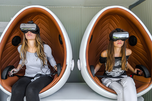 istock Happy family. Mother and her daughter using virtual reality glas 623356462
