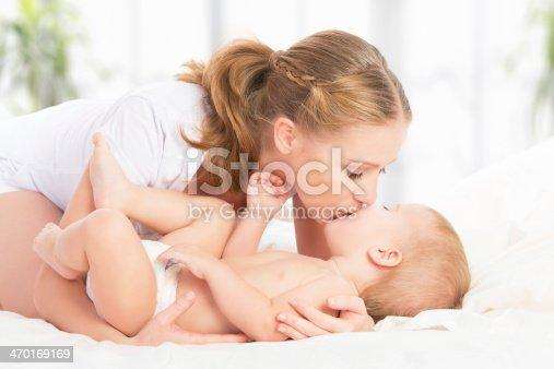 538360916 istock photo happy family mother,  baby having fun playing, laughing on bed 470169169
