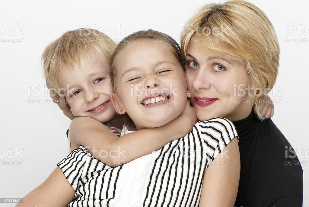 Happy family, Mother, daughter, son, royalty-free stock photo
