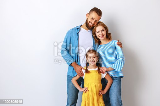 921362094istockphoto happy family mother father and child  near an empty brick wall 1200808948