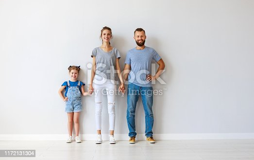 921362094istockphoto happy family mother father and child  near an empty wall 1172131304