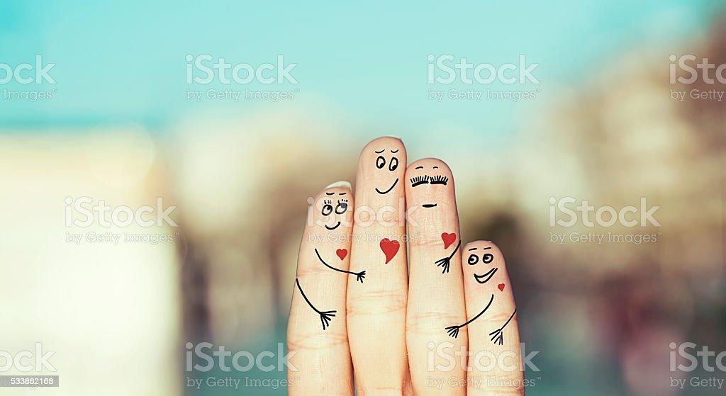 happy family of fingers stock photo