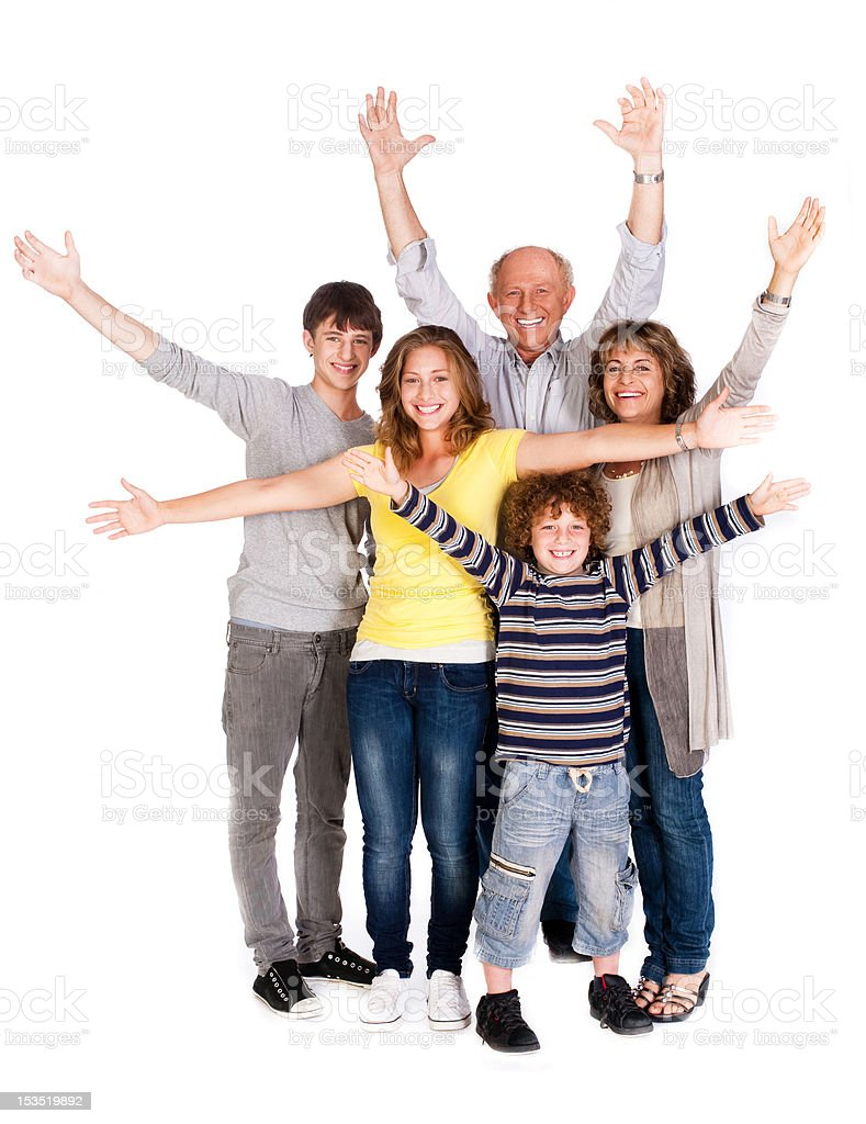Happy family of five with young kid royalty-free stock photo
