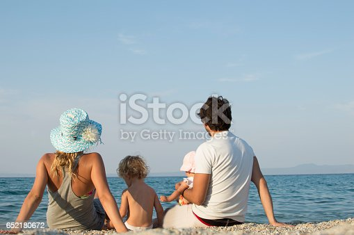 istock Happy family of four on beach vacation 652180672