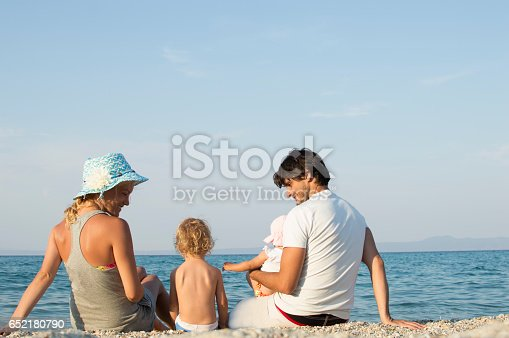 istock Happy family of four on beach vacation 652180790