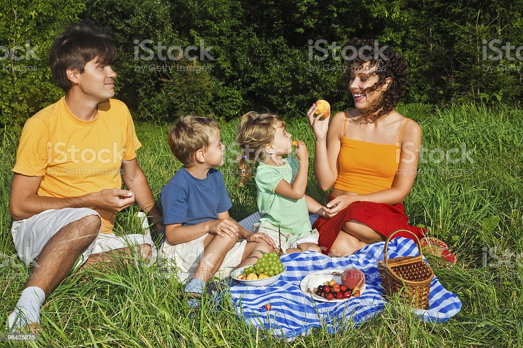 Happy family of four on picnic in garden royalty-free stock photo