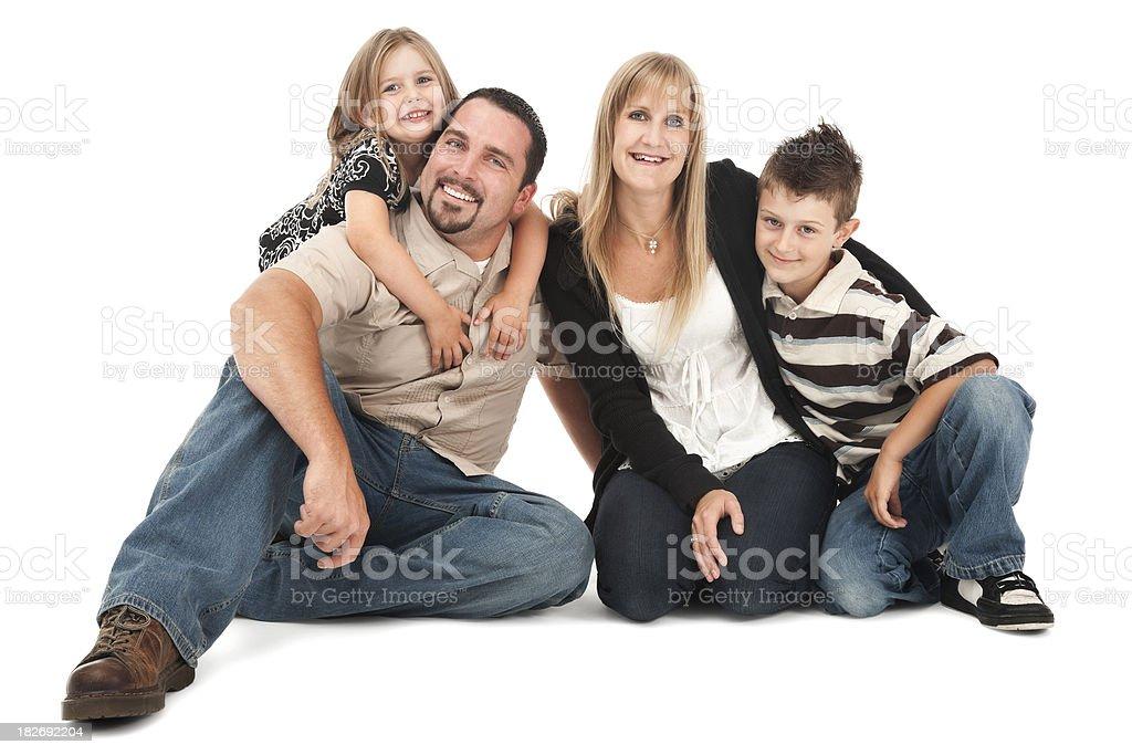 Happy Family of Four on White royalty-free stock photo