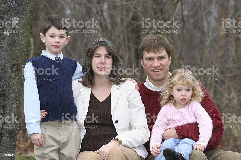 Happy Family of Four People (2) royalty-free stock photo