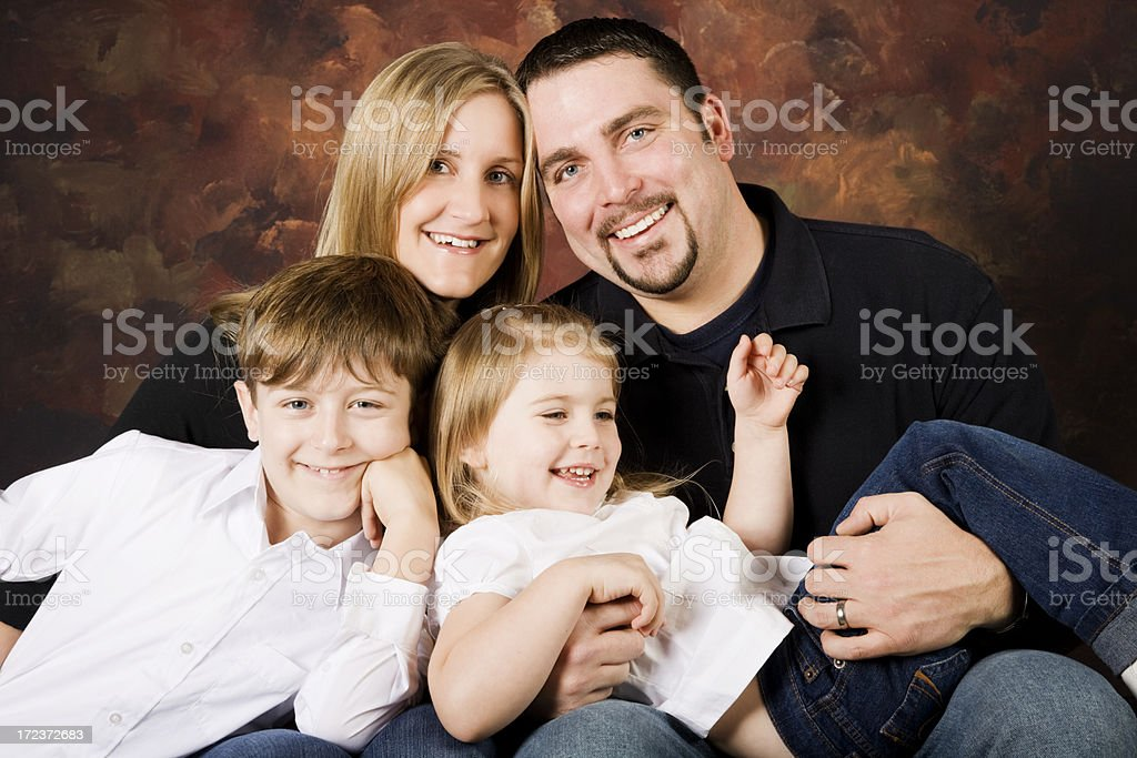 Happy Family of Four royalty-free stock photo