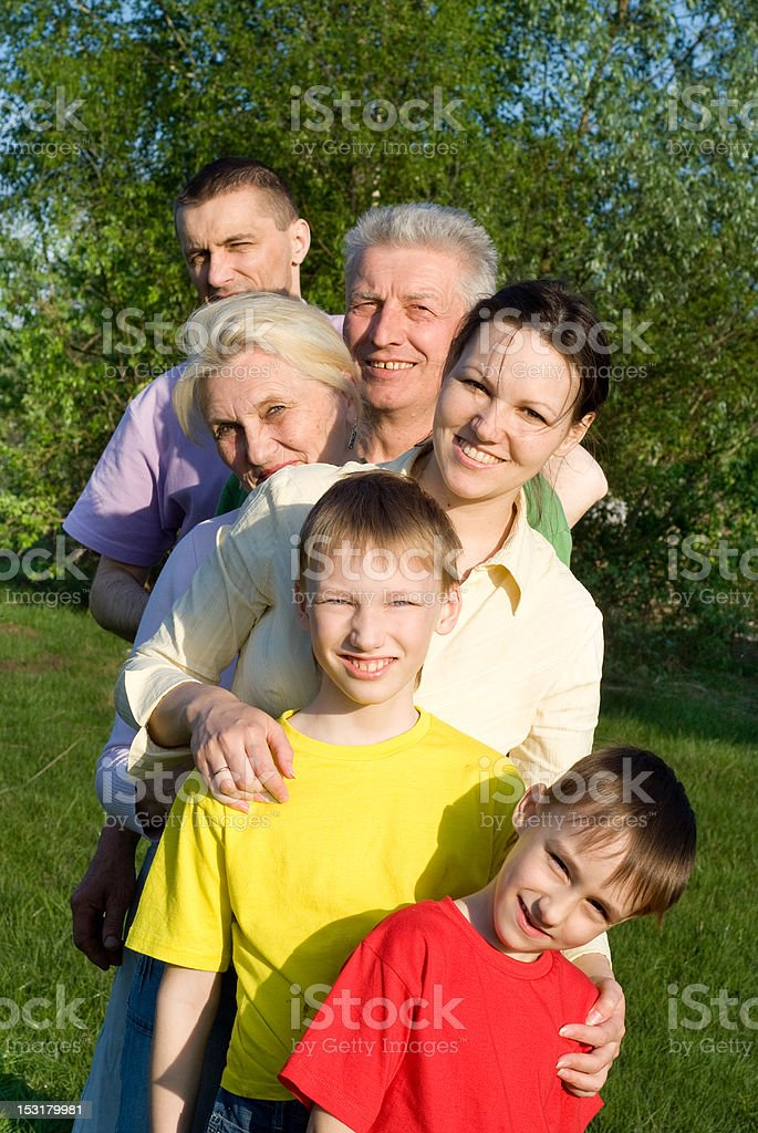happy family of six on the nature royalty-free stock photo