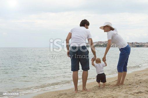 istock Happy family of three on beach vacation 480330058