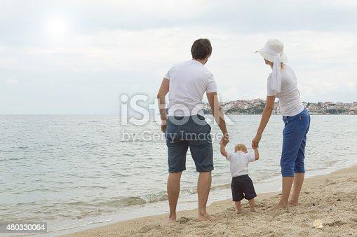 istock Happy family of three on beach vacation 480330064