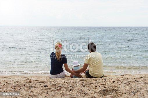 istock Happy family of three on beach vacation 480743246