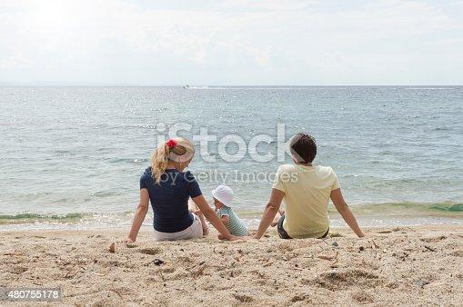 istock Happy family of three on beach vacation 480755178