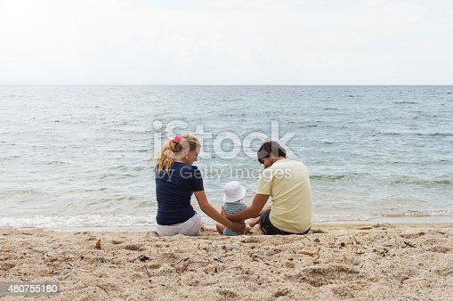 istock Happy family of three on beach vacation 480755180
