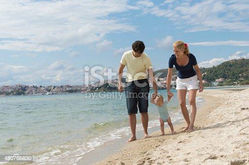 istock Happy family of three on beach vacation 480766630
