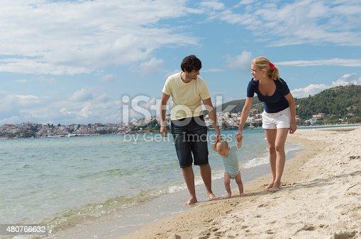 istock Happy family of three on beach vacation 480766632