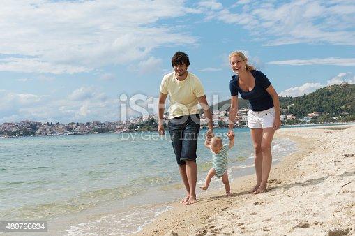 istock Happy family of three on beach vacation 480766634