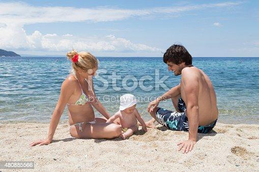 istock Happy family of three on beach vacation 480885566