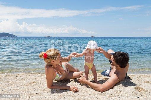 istock Happy family of three on beach vacation 480960726