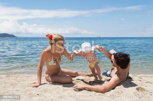 istock Happy family of three on beach vacation 480960754