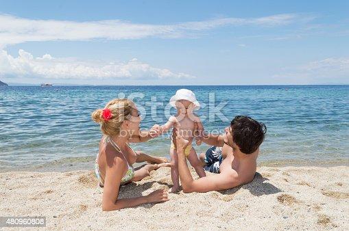 istock Happy family of three on beach vacation 480960808