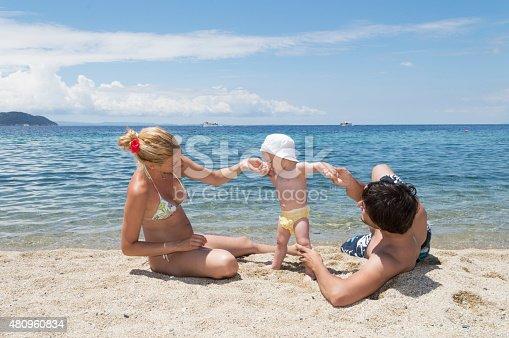 istock Happy family of three on beach vacation 480960834