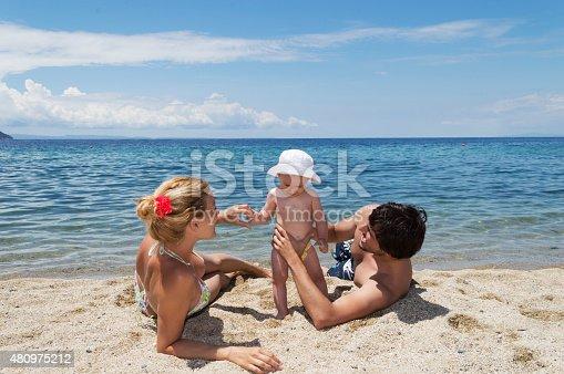 istock Happy family of three on beach vacation 480975212