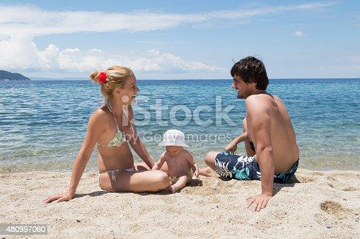 istock Happy family of three on beach vacation 480997060