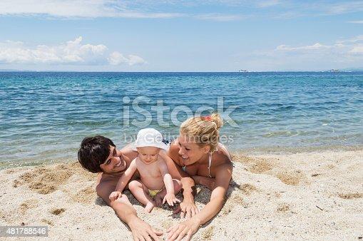 istock Happy family of three on beach vacation 481788546