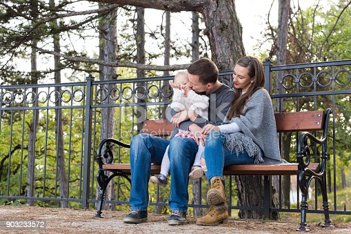 525959168 istock photo Happy family of three sitting on a bench in a park enjoying their time together. Father giving a kiss to his toddler daughter, mother smiling. 903233572