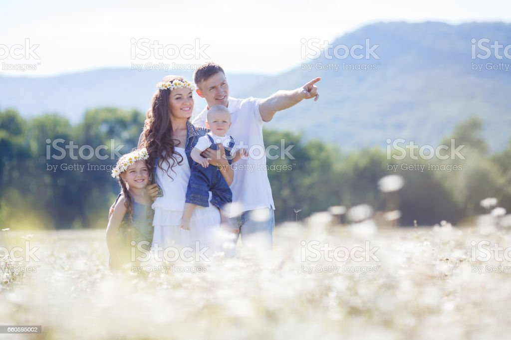 Happy family on a field of blooming daisies royalty-free stock photo