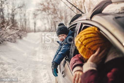 istock Happy family on a winter road trip 1030877922
