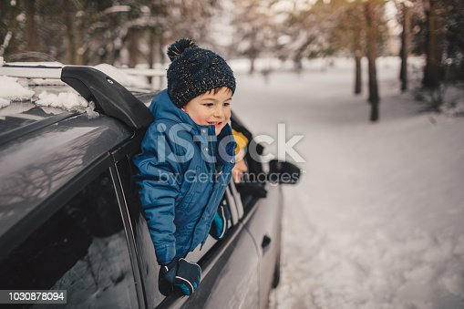 istock Happy family on a winter road trip 1030878094