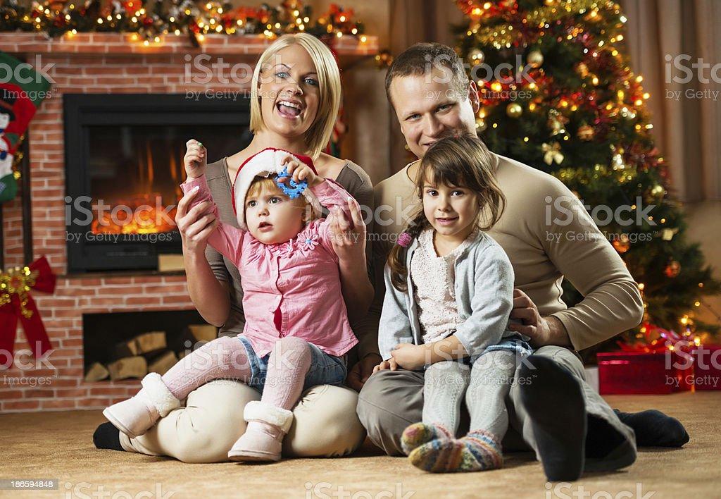 Happy family on Christmas Eve. royalty-free stock photo