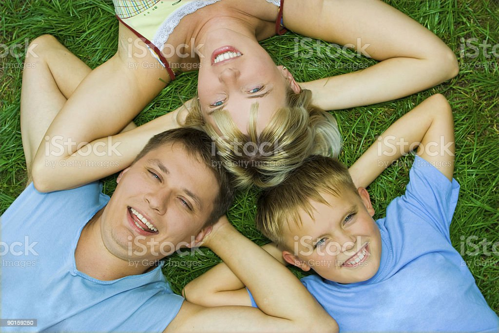 happy family on grass royalty-free stock photo