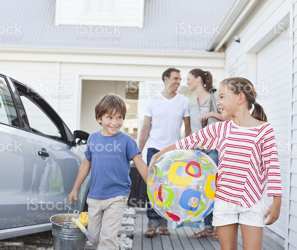 Happy family on holiday royalty-free stock photo