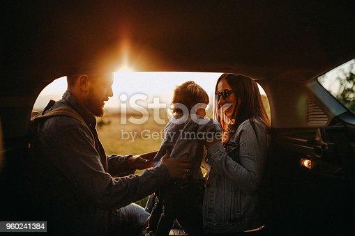 istock Happy family on road trip 960241384