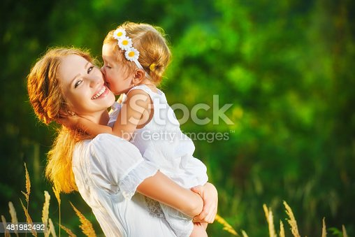 istock Happy family on summer. little girl child baby daughter hugging 481982492