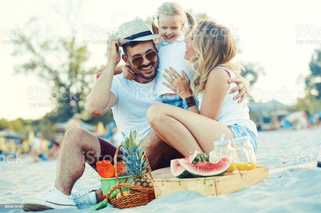 Happy Family on the beach stock photo