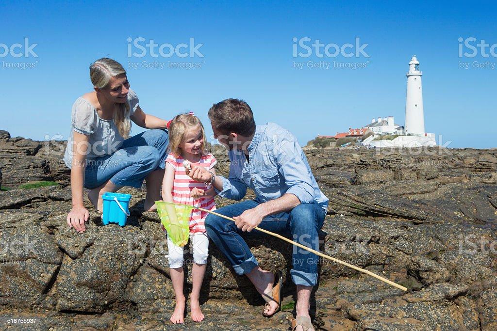 Happy Family on the Rocks stock photo