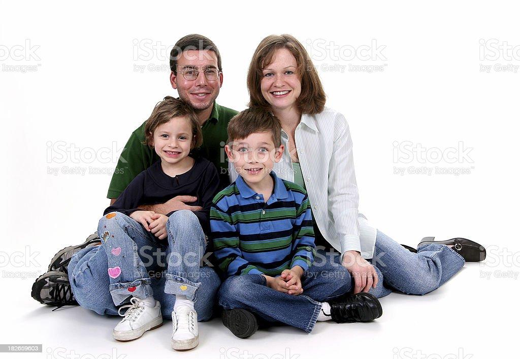 Happy family on white. royalty-free stock photo