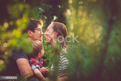 Parents with son enjoying summer evening outdoors