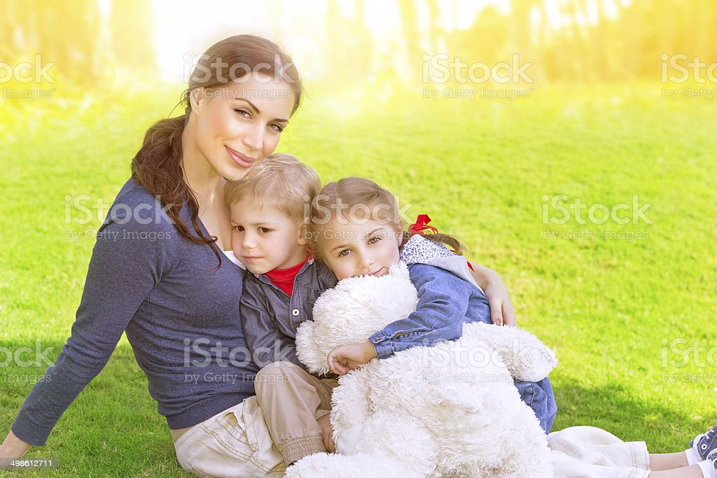Happy family outdoors royalty-free stock photo
