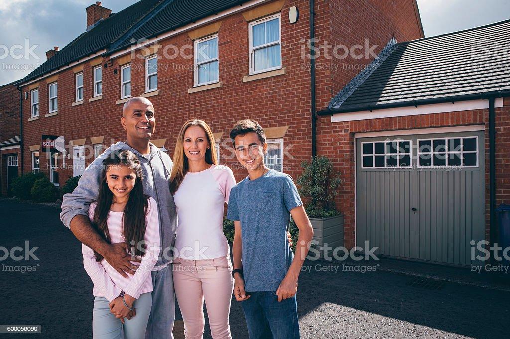 Happy Family Outdoors stock photo